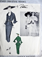 1950s RARE  Patou Suit Pattern VOGUE Paris Original Model 1140 CHIC Day or Special Occasion Fitted Jacket Godet Pleated From Waistline, Pencil Slim Skirt Pure Elegance Bust 30 Vintage Sewing Pattern