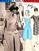 1960s STYLISH Jacques Heim Dress Pattern VOGUE Paris Original 1158 Lovely Dress daytime or after 5 Cocktail Party Bust 36 Vintage Sewing Pattern