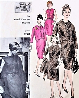 1960s CLASSY Suit and Blouse Pattern VOGUE Couturier Design 1198 Ronald Paterson of England Slim Skirt Suit and Tuck in Blouse Bust 31 Vintage Sewing Pattern + Label