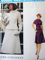 1970s STYLISH  Sybil Connolly 2 Pc Dress Pattern VOGUE Couturier Design 1208 Figure Flattering Style Bust 36 Vintage Sewing Pattern FACTORY FOLDED