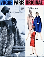 1960s STUNNING Nina Ricci Cape Coat and Slim Dress Pattern VOGUE Paris Original 1217 Day or Cocktail Evening Bust 31 Vintage Sewing Pattern