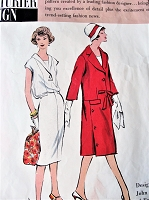 1960s STYLISH Slim Dress and Coat Pattern VOGUE Couturier Design 122 John Cavanagh of England  Blouson Back Dress Interesting Coat Style Daytime or After 5 Bust 36 Vintage Sewing Pattern