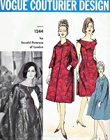 1960 GLAMOROUS Ronald Paterson Cocktail Party Evening Dress and Coat Pattern VOGUE Couturier Design 1244 Beautiful Off Shoulders Dress, Lovely Coat Bust 32 Vintage Sewing Pattern