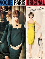 1960s CLASSY CHRISTIAN DIOR Cocktail Evening Dress Pattern VOGUE Paris Original 1311 Perfect Little Black Dress Low Square Neckline Empire Sheath Timeless Classic Dior Bust 34 Vintage Sewing Pattern FACTORY FOLDED