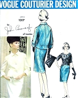 1960s JOHN CAVANAGH 3 Pc Slim Skirt Suit Pattern VOGUE COUTURIER Design 1317 Two Style Versions Daytime or After 5  Bust 31 or 32 Vintage Sewing Pattern
