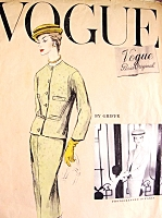 1950s Classy 3 Pc Suit Griffe Pattern Vogue Paris Original 1335 Short Straight Jacket, Side Back Button Skirt Version Lovely Bias Overblouse Bateau Neckline Day or Evening Bust 32 Vintage Sewing Pattern