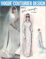 60s CLASSY Wedding Dress Bridal Gown Pattern VOGUE COUTURIER Design 1347 John Cavanagh Of London Elegant Empire Dress Bust 32 Vintage Sewing Pattern FACTORY FOLDED +Label