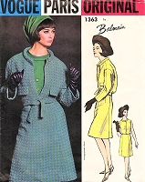 1960s CLASSY Balmain Suit and Blouse Pattern VOGUE PARIS Original 1363 Belted Jacket, Slightly A Line Skirt, Sleeveless Blouse Bust 34 Vintage Sewing Pattern