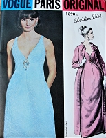 1960s GORGEOUS Dior Evening Gown and Coat Pattern VOGUE Paris Original 1398 Gala Evening Dress, Plunging Shaped Neckline Dress in Cocktail or Formal Length, Coat in 2 Lengths, Bust 38 Vintage Sewing Pattern FACTORY FOLDED