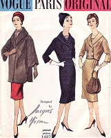 1950s ELEGANT Slim Dress, Jacket and Lovely Coat Pattern VOGUE Paris Original  1427 Jacques Heim Design Day or Evening Bust 34 Vintage Sewing Pattern FACTORY FOLDED