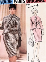 1960s JACQUES GRIFFE Suit Pattern VOGUE Paris Original 1433 Slim Skirt Fitted Jacket With Self Ruffling Daytime or Cocktail Party Bust 36 Vintage Sewing Pattern FACTORY FOLDED