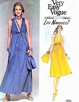 1970s BEAUTIFUL Dress and Purse Pouch Pattern VEry Easy Vogue 1435 Leo Narducci Flared Sleeveless Dress Deep V Neckline Regular or Maxi Length Bust 32 Vintage Sewing Pattern FACTORY FOLDED