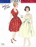 1950s GORGEOUS Lanvin Castillo Evening Dress and Jacket Pattern VOGUE Paris Original 1446 Beautiful Strapless Dress, Short Jacket With Wide Shaped Collar, Figure Flattering Styles Bust 34 Vintage Sewing Pattern FACTORY FOLDED