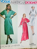 1970s CLASSY Oscar De La Renta Wrap Dress or Jumper Pattern VOGUE AMERICAN Designer Day or Evening Maxi Length Bust 32 Vintage Sewing Pattern FF