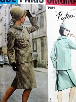 1960s MOD Patou Suit Pattern VOGUE PARIS Original 1482  Slim Skirt With Front Apron, Boxy Jacket Bust 34 Vintage Sewing Pattern