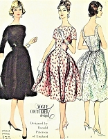 1950s FLIRTY Cocktail Party Dress Pattern VOGUE Couturier Design 155 Beautiful Ronald Paterson Designer Evening Dress Bust 31 Vintage Sewing Pattern