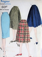 1950s STYLISH Skirts in Four Styles Vogue 15 Waist 24 Vintage Sewing Pattern