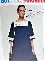 1960s YVES SAINT LAURENT Mod Dress Pattern VOGUE Paris Original 1619 Semi Fitted Empire Style Square Neckline Day or After 5 Bust 32 Vintage Sewing Pattern