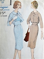 Late 50s Slim Suit Pattern VOGUE 1634 High Midriff Waist Suspender Pencil Skirt and Short Bolero Jacket, Day or After 5 Elegance Bust 31 Vintage Sewing Pattern