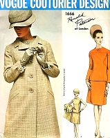 1960s MOD Ronald Paterson Coat and 2 Pc Dress Pattern VOGUE Couturier Design 1666 Day or After Five Fashion Bust 32 Vintage Sewing Pattern FACTORY FOLDED