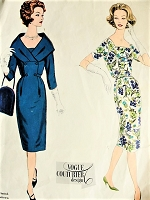 1950s CAPTIVATING Slim Day or Evening Dress Pattern VOGUE Couturier Design 167 Wide Flattering Shawl Collar Version Bust 34 Vintage Sewing Pattern