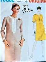 1960s CLASSY Patou Semi Fitted Dress Pattern VOGUE Paris Original 1699 Caftan Slit Neckline, Raglan Sleeves, Slightly A Line Easy Elegance Bust 32 Vintage Sewing Pattern FACTORY FOLDED