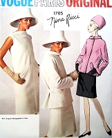 1960s Mod NINA RICCI Dress and Jacket Pattern VOGUE PARIS ORIGINAL 1705 Slim Bias Shift Dress Fab Jacket Daytime or Evening Bust 31 Vintage Sewing Pattern