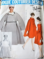 FABULOUS 1960s FABIANI Tent Coat and Dress Pattern VOGUE Couturier Design 1707 Lovely High Waisted Dress, Double Breasted Tent Coat, Daytime or Dinner Cocktails Bust 32 Vintage Sewing Pattern FACTORY FOLDED + Label