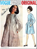 1960s MOD Dior Tent Dress Pattern VOGUE Paris Original 1717 Cocktail Party Evening or Daytime Dress  Bust 31 Vintage Sewing Pattern