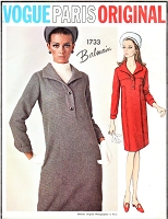 1960s BALMAIN Slim Shirt Dress Pattern VOGUE PARIs Original 1733 Lovely Day Dress, Optional Dickey Bust 31 Vintage Sewing Pattern