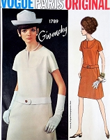 1960s CLASSY Givenchy Dress Pattern VOGUE Paris Original 1789 Daytime or After 5 Dress Bust 32 Vintage Sewing Pattern