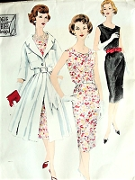 1950s STUNNING Cowl Neckline Slim Cocktail Dress and Redingote Coat Pattern VOGUE Couturier Design 178 Pure Elegance Bust 34 Vintage Sewing Pattern