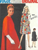 FAB 1960s Laroche Dress Pattern VOGUE Paris Original 1841 UNIQUE Design Cape Like Effect Day or Evening Cocktail Dress Bust 32 Vintage Sewing Pattern