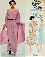 1970s EDITH HEAD Off the Shoulder Dress with Stole Vogue 1895 Bust 36 Retro Vintage Sewing Pattern