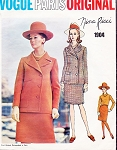 1960s CLASSY NINA RICCI Suit and Blouse Pattern VOGUE PARIS Original 1904 Snappy Lapel Jacket Slim Skirt  Size 8 Vintage Sewing Pattern
