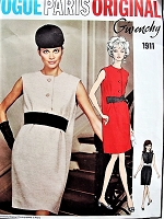 1960s ELEGANT Givenchy Dress Pattern Vogue Paris Original 1911 Perfect Daytime or Evening Cocktail Dress Two Looks Bust 34 Vintage Sewing Pattern