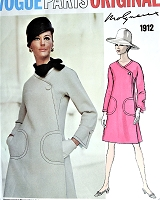 1960s MOD Molyneux UNIQUE Design Dress Pattern VOGUE Paris Original 1912 Side Wrapped Look, Two Versions With Dickey or Not Bust 38 Vintage Sewing Pattern FACTORY FOLDED + Sew In Label
