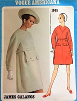 1960s MOD Galanos Dress Pattern VOGUE Americana 1945 Unique Design Day or After 5 Bust 32 Vintage Sewing Pattern