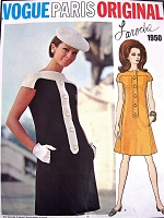 1960s MOD Laroche Dress Pattern VOGUE Paris Original 1950 Bateau Neckline  Cap Sleeves Slightly a Line Dress Bust 34 Vintage Sewing Pattern