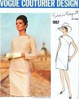 1960s STUNNING FEDERICO FORQUET Evening Cocktail Dress Pattern VOGUE COUTURIER DESIGN 1957 Straight Loose Fitting Dramatic DIAGONAL Seaming  BATEAU Neckline Bust 36 Vintage Sewing Pattern FACTORY FOLDED