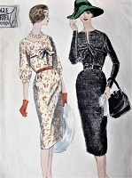 1950s BEAUTIFUL Slim Dress Pattern VOGUE 195 Two Stunning Designs Day or Evening Cocktail Party Dress Bust 34 Vintage Sewing Pattern