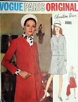1960s DIOR Suit and Blouse Pattern VOGUE Paris Original 2000 Loose Fitting Jacket, Front Button A Line Skirt,Tuck in Blouse and Bias Scarf Bust 36 Vintage Sewing Pattern