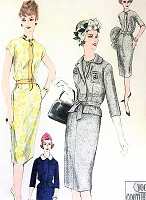 1950s STYLISH Slim Dress and Jacket Pattern VOGUE Couturier Design 200 MICHAEL of ENGLAND  Day or Cocktail Dress Bust 34 Vintage Sewing Pattern
