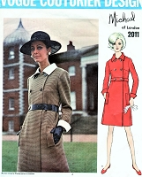 1960s CHIC Michael of London Coat Dress Pattern VOGUE Couturier Design 2011 Double Breasted Dress Classy Day or After 5 Bust 32 Vintage Sewing Pattern FACTORY FOLDED