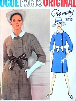 1960s Givenchy ELEGANT Mod Coat Dress Pattern VOGUE Paris Original 2012 Classy Side Button Loose Fitting Coat Dress Bust 36 FACTORY FOLDED + Label