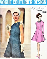 1960s Stunning FORQUET Day or Cocktail Evening Dress Pattern VOGUE COUTURIER Design 2066 Elegant Side and Front Bias Insets, Jewel Neckline Beautiful Dress Bust 38  Vintage Sewing Pattern
