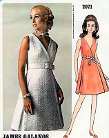 60s JAMES GALANOS Glamorous Cocktail Evening Party Dress Pattern VOGUE Americana 2071 Side Wrap Dress Bust 34 Vintage Sewing Pattern FACTORY FOLDED + Label