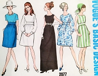 1960s MOD Day or Evening Maxi Dress Pattern VOGUE Basic Design 2077 Slightly High waist Dress 5 Versions Bust 34 Vintage Sewing Pattern