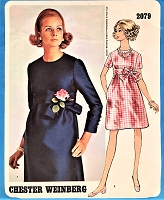 1960s LOVELY Day or After 5 Dress Pattern VOGUE AMERICANA 2079 High Waisted Dress Jewel Neckline Chester Weinberg Design Bust 32 Vintage Sewing Pattern
