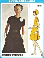 1960s STYLISH Jewel Neckline Dress Pattern VOGUE Americana 2080 Semi Fitted A Line, Inverted Side Back Pleats Bust 34 Vintage Sewing Pattern